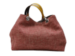 XXL carrier bag,  1 set of 2 stiched leather handles, coral colored tweed