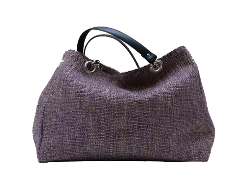 XXL carrier bag,  1 set of 2 stiched leather handles, lavander colored tweed