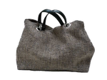 XXL carrier bag,  1 set of 2 stiched leather handles, stone colored tweed