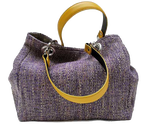 Mid-size carrier bag,  1 set of 2 stiched leather handles, lavander colored tweed