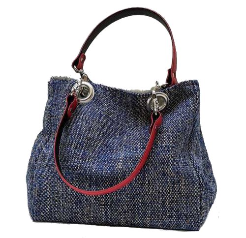 Mid-size carrier bag,  1 set of 2 stiched leather handles, ocean colored tweed