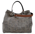Mid-size carrier bag,  1 set of 2 stiched leather handles, stone colored tweed