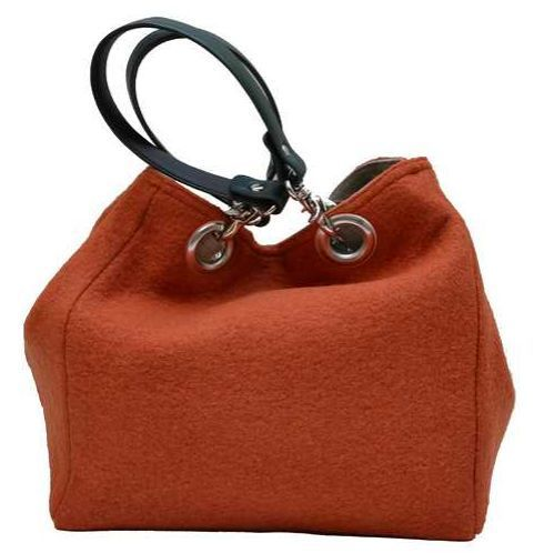 Small-size carrier bag,  1 set of 2 stiched leather handles, orange colored boiled wool