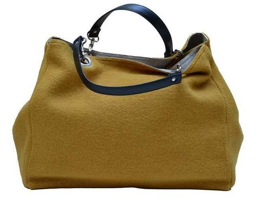 Mid-size carrier bag,  1 set of 2 stiched leather handles, mustard colored boiled wool