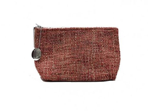 Small size Coral colored Tweed holdall pouche