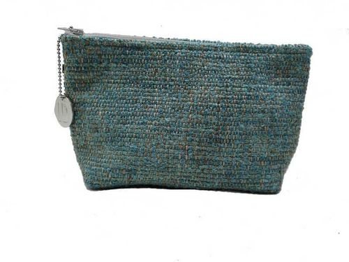 Small size Lagoon colored Tweed holdall pouche