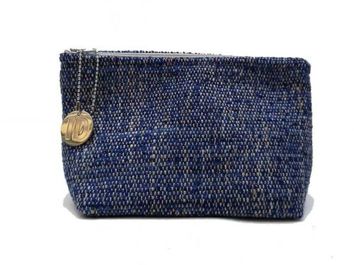Small size Ocean colored Tweed holdall pouche
