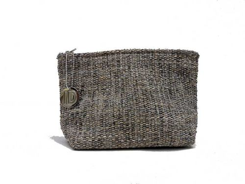 Small size Stone colored Tweed holdall pouche