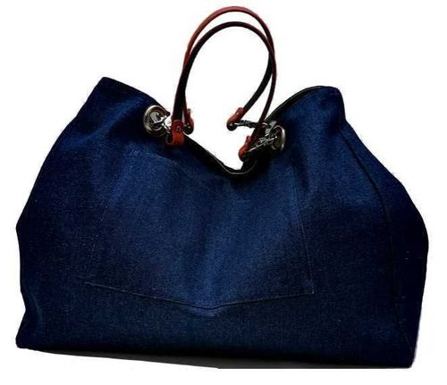 XXL carrier bag,  1 set of 2 stiched leather handles, collection Jean
