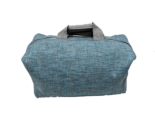 Sac de week-end, 2 anses en lin, Tweed couleur lagon