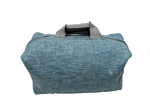 Week-end bag, 2 linen handles, Lagoon colored Tweed