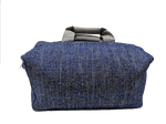 Week-end bag, 2 linen handles, ocean colored Tweed