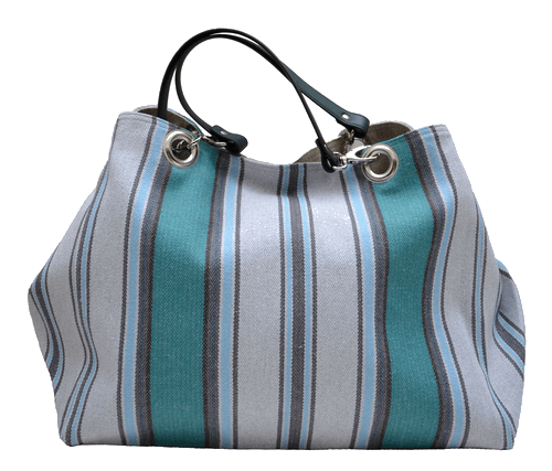 Turquoise striped XXL carrier bag