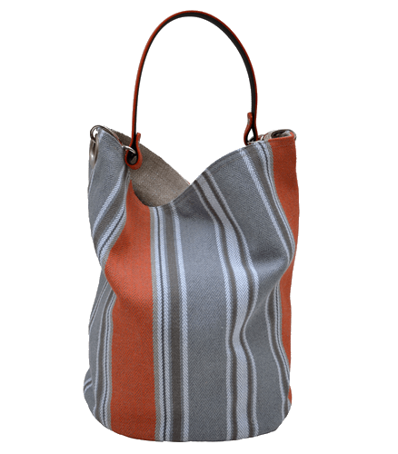 Orange striped bucket bag