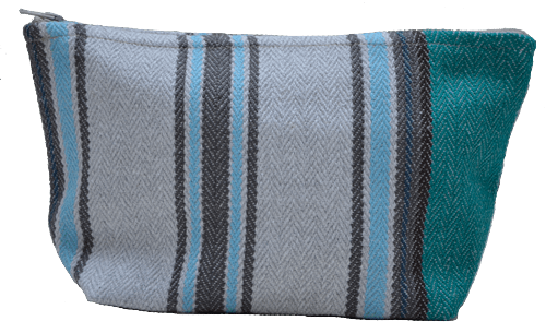 Turquoise striped small-size holdall pouche