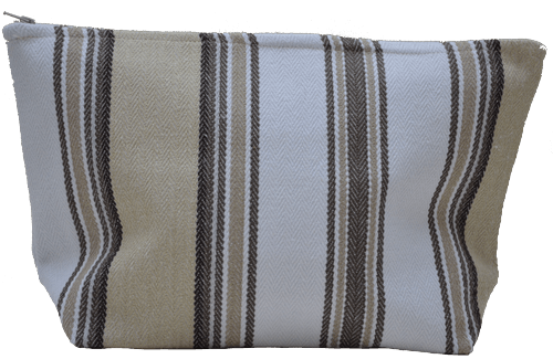 Natural striped mid-size holdall pouche