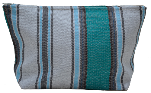 Turquoise striped mid-size holdall pouche