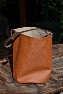 bucket bag leather handles, ostrich, fawn color
