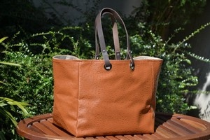 Mid-size carrier bag  leather handles, ostrich, fawn color