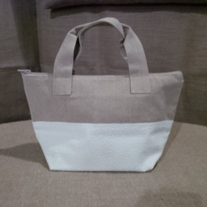Handbag Linen and white ostrich