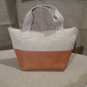 Handbag Linen and fawn color ostrich