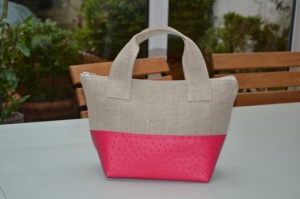 Handbag Linen and fushia ostrich