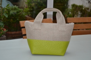 Handbag Linen and anise color ostrich