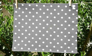 Rectangular place mat, white polka-dot on grey ground plastified linen