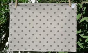 Rectangular place mat, grey polka-dot on beige ground plastified linen