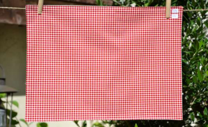 Rectangular place mat, red vichy plastified linen