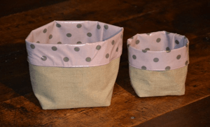 Pin tray, grey polka-dot on rose ground plastified linen