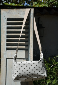 Shoulder bag, anthracite polka-dot on light grey ground plastified linen