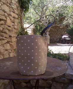 bucket bag, ivory polka-dot printed linen