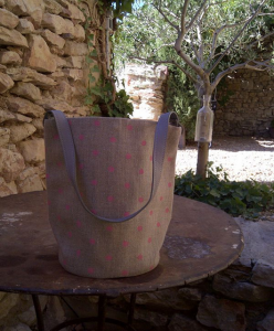 bucket bag, pink polka-dot printed linen