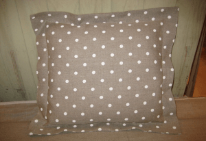 Square cushion, chocolate polka-dot printed linen