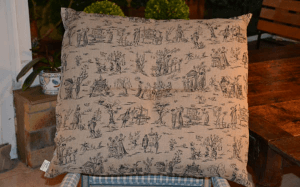 Ground cushion, black  toile de Jouy printed linen printed linen
