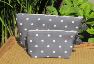 holdall pouche, ivory polka-dot printed linen