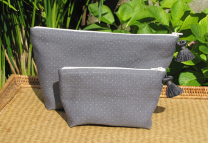 holdall pouche, white dotted on grey ground printed linen