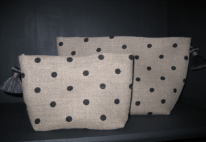 holdall pouche, white polka-dot on grey ground printed linen
