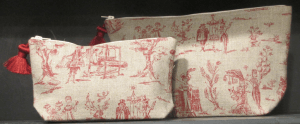 holdall pouche, red toile de Jouy printed linen