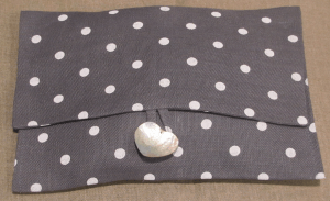Lingerie pouche, ivory polka-dot on grey ground printed linen