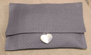 Lingerie pouche, white dotted on grey ground printed linen