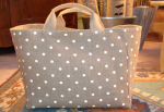 Mid-size carrier bag, printed linen