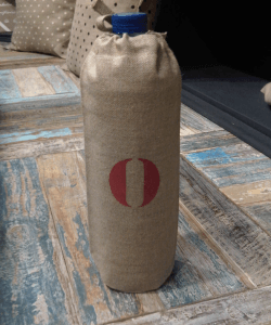 "1,5l water bottle cover, stencilled linen ""O"