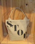 "Sand filled stencilled door stop ""Stop"