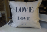 Square cushions, stencilled linen, size 65 x 65 cm