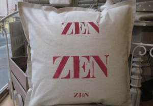 "Square cushions, red stencilled linen ""Zen"