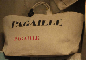 "Big-size logs bag, black stencilled ""Pagaille"