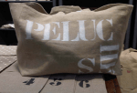 "Big-size logs bag, black stencilled ""Peluches"
