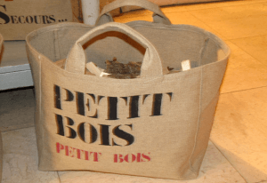 "Mid-size bag, black stencilled ""Petit bois"